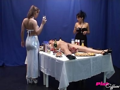 Katrin and Nicole play dirty lesbian game with one more girl and food