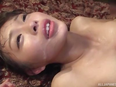 Oto Sakino spreads her legs for a friend's hard cock on the floor