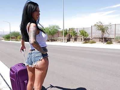 Lily Lane looking for a ride and instead of that she enjoys a threesome