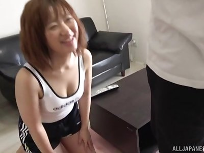 Nasty Asian makes her friend cum with a blowjob and a handjob