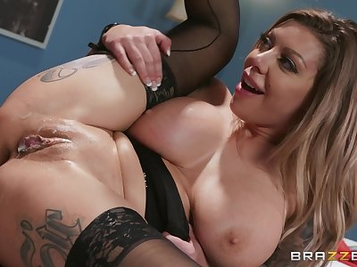 tattooed blonde chick Karma RX gets her cunt banged by her friend