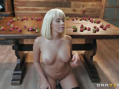 instead of strawberries hot Athena Palomino eats friend's penis before fuck