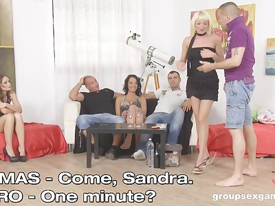 Sandra Seashell and her slutty friends pounded in a group sex session