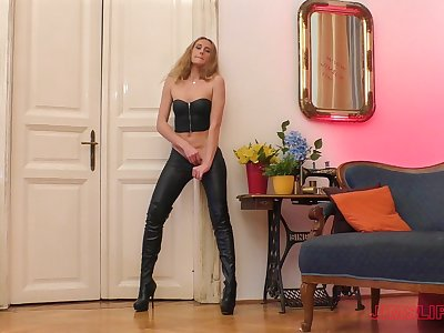 Blonde in leather pants Linda Leclair blows and rides an older dude