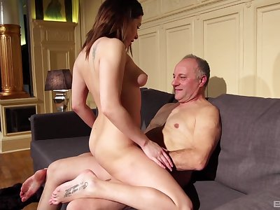 Teen babe Ally Breelsen loves riding an older mans dick