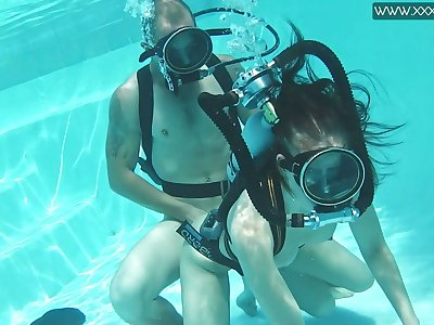 Historic scuba sex with naughty red haired chick Minnie Manga
