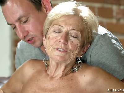 Improper granny Malya has an affair with young dude living nextdoor
