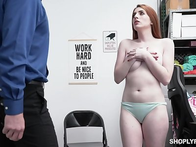 Store functionary strips and fucks shoplifter Aria Carson on video
