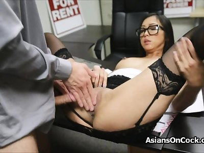 Asian cutie does a develop into of extra on labour interview