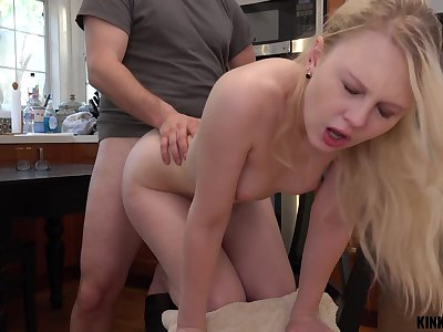 Pretty stepdaughter Lily Rader gets a mouthful of cum after crazy sex in the pantry