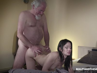 Old grey bearded gets woken up with sex plus what a X shake out he's got