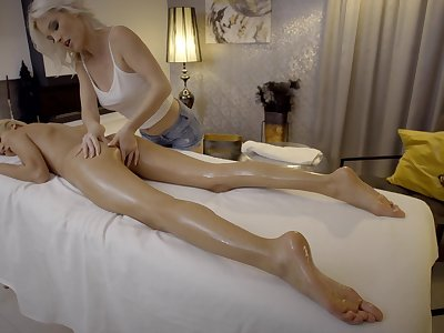 Most adroitly lesbian massage featuring unforgettable Missy Luv coupled with Zazie Skymm